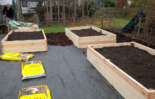 Raised beds were installed on a breathable membrane