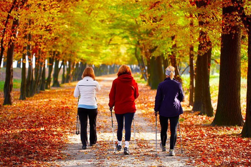 Walking outdoors in autumn